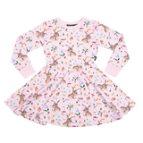 Rock Your Baby L/S Waisted Dress - Cotton Tail (Size 3-12)