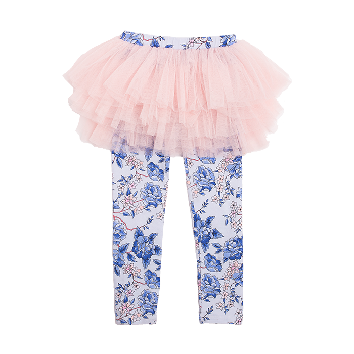 Rock Your Baby Oriental Floral Circus Tights - Light Blue