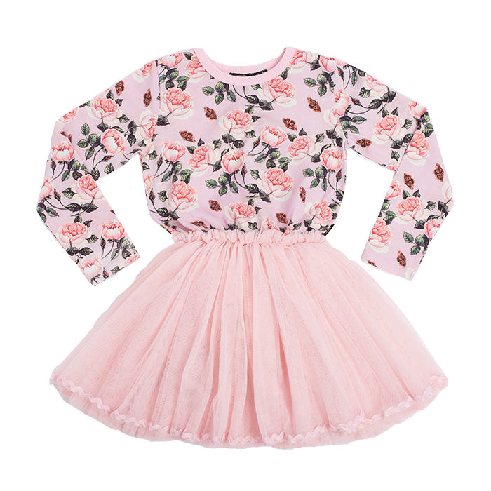 Rock Your Baby Shabby Chic L/S Circus Dress - Pale Pink