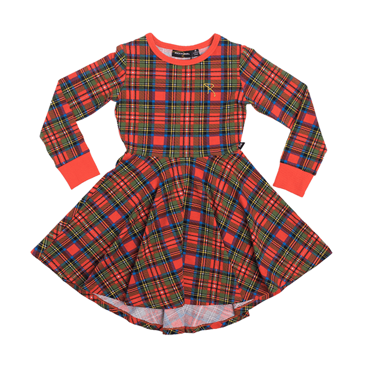 Rock Your Baby Tartan L/S Waisted Hi-Low Dress - Red Tartan