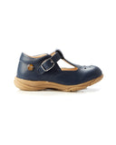 Walnut Rio Leather TBar Shoe - Navy
