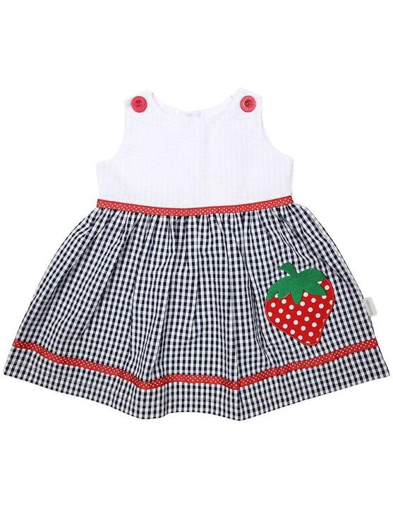 Korango Strawberry Seersucker Dress in Navy (Size 0-6Y)
