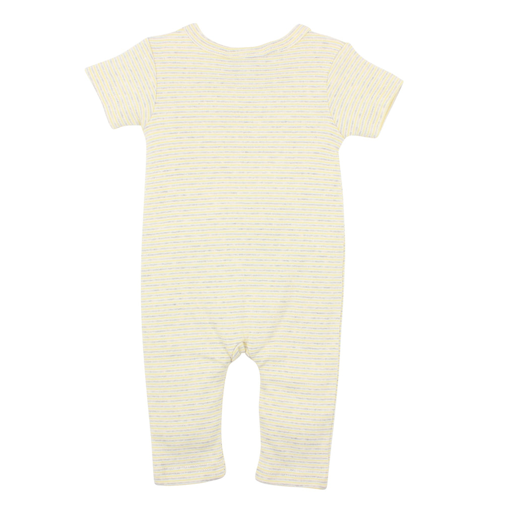 Bebe Unisex Mock Wrap Romper in Lemon Stripe