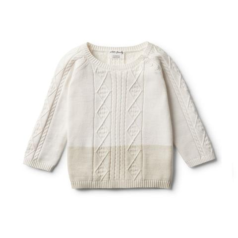 Wilson & Frenchy Ecru Dipped Cable Knit Jumper