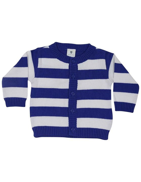 Korango Whale Cardigan in Blue/White stripe