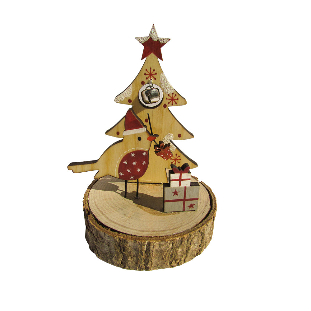 Urban Nest Living Wooden Christmas Santa Bird Scene