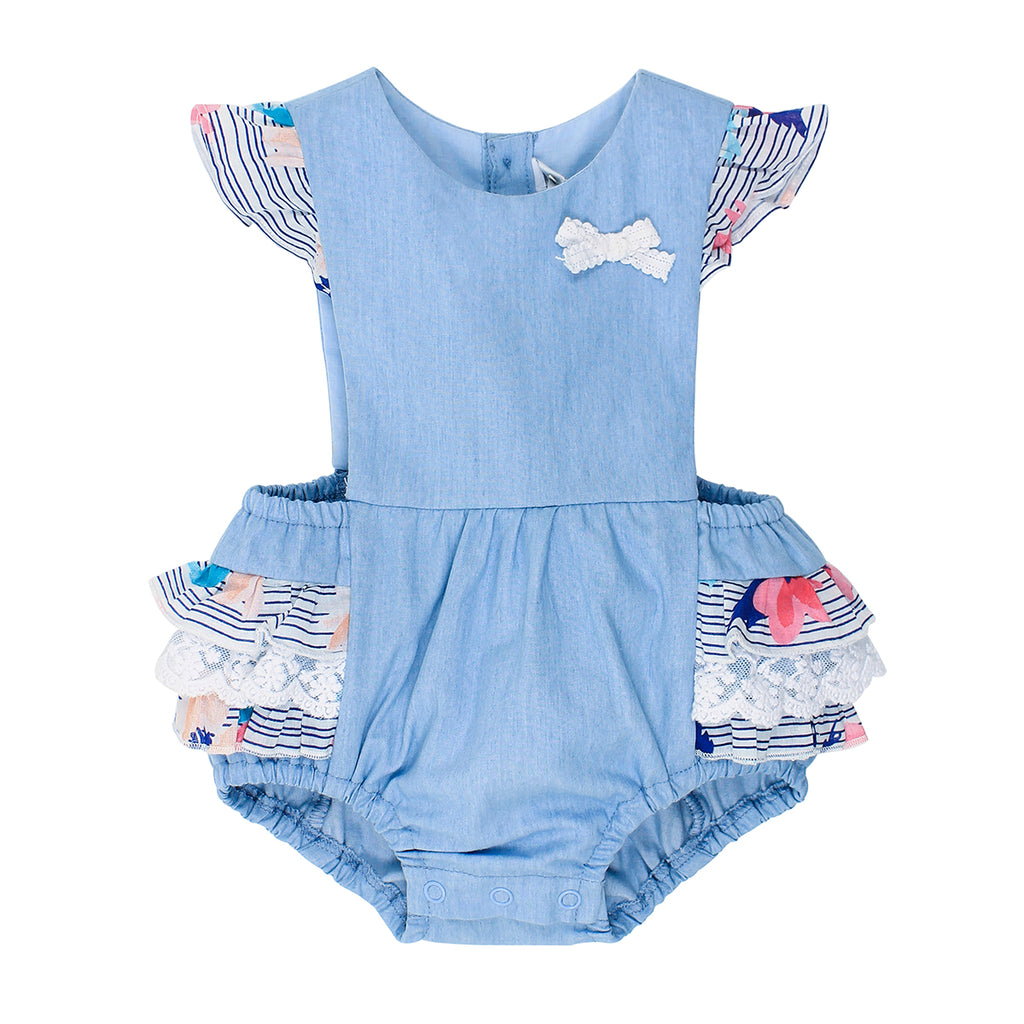 Bebe Abby Chambray Playsuit With Frill - XS18-764