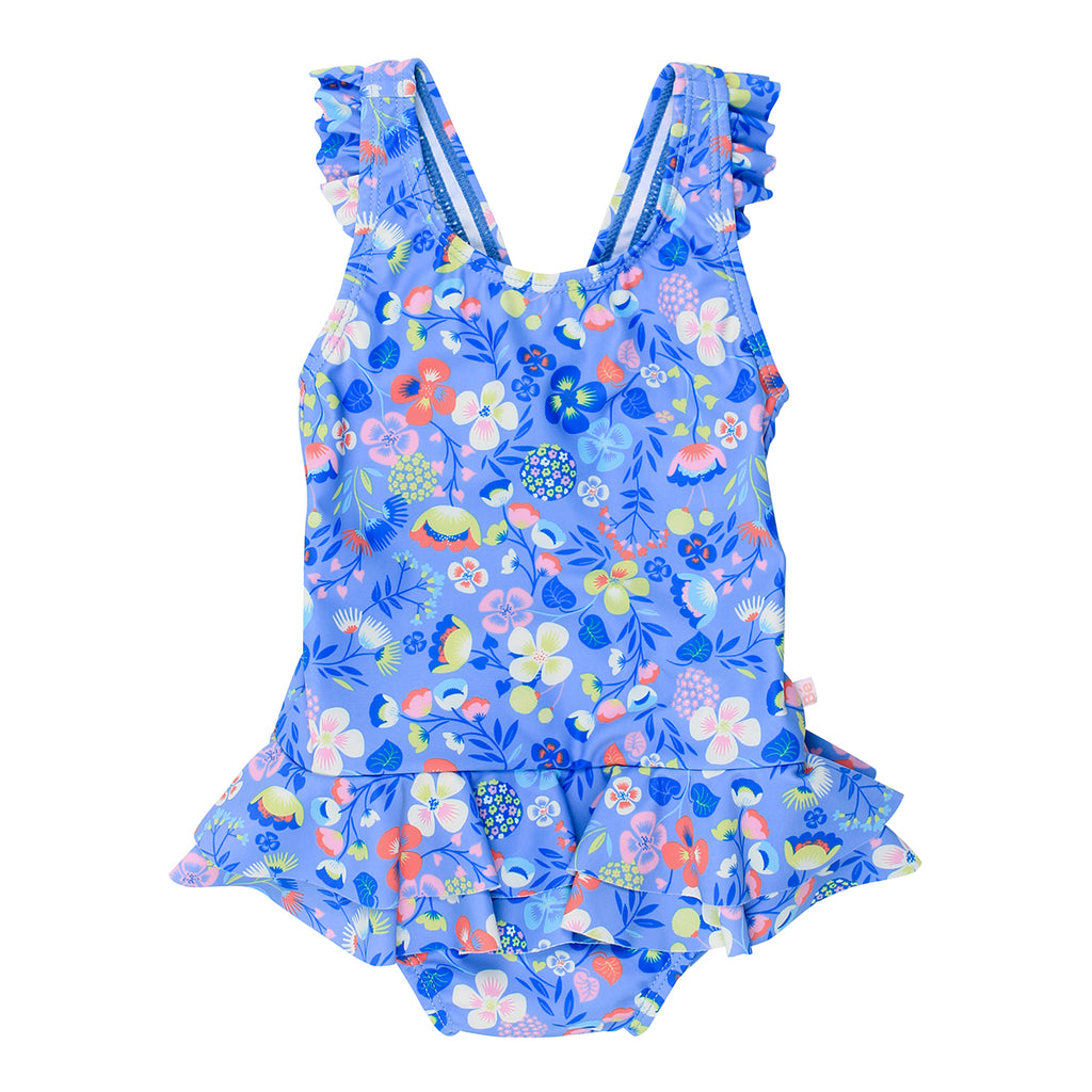 Bebe Emma Floral Swim Suit With Frill - XS18-986