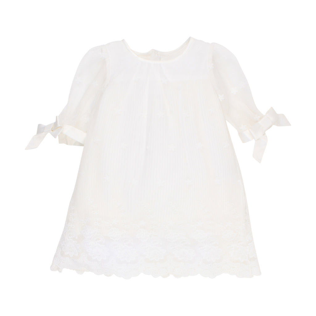 Bebe Pleated Lace Dress in Ivory