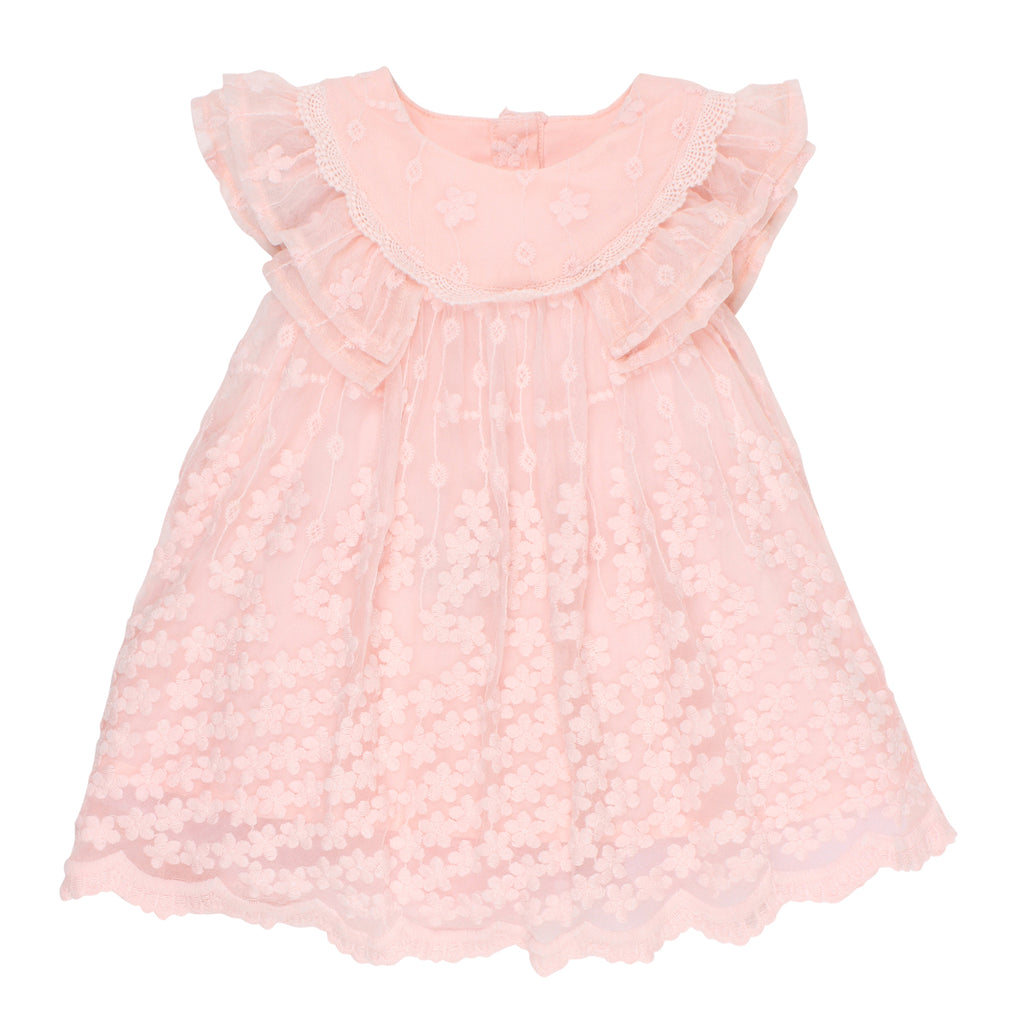 Bebe Frill Sleeve Lace Dress in Pink
