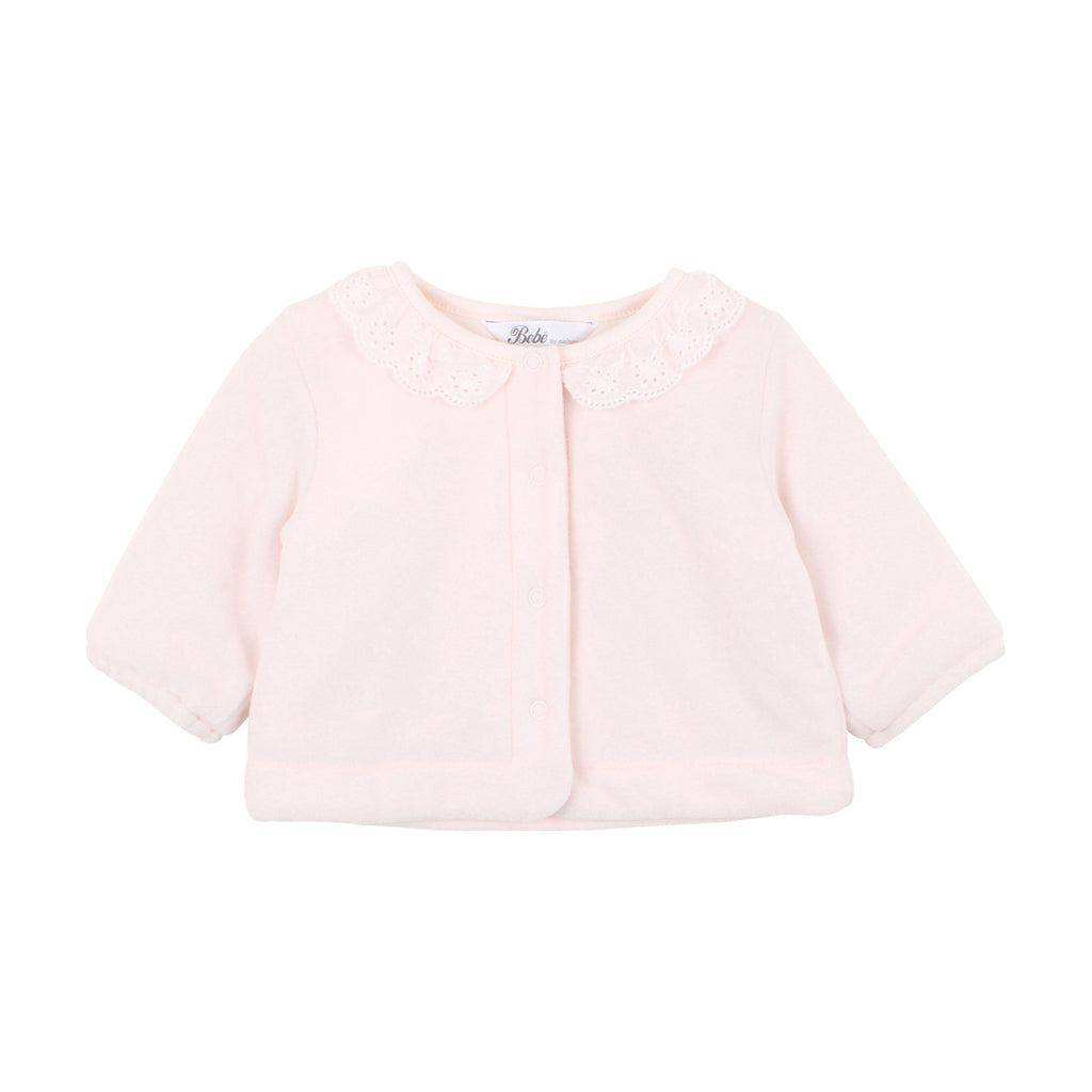 Bebe Penny Print Velour Jacket in Barely Pink (3M-2)