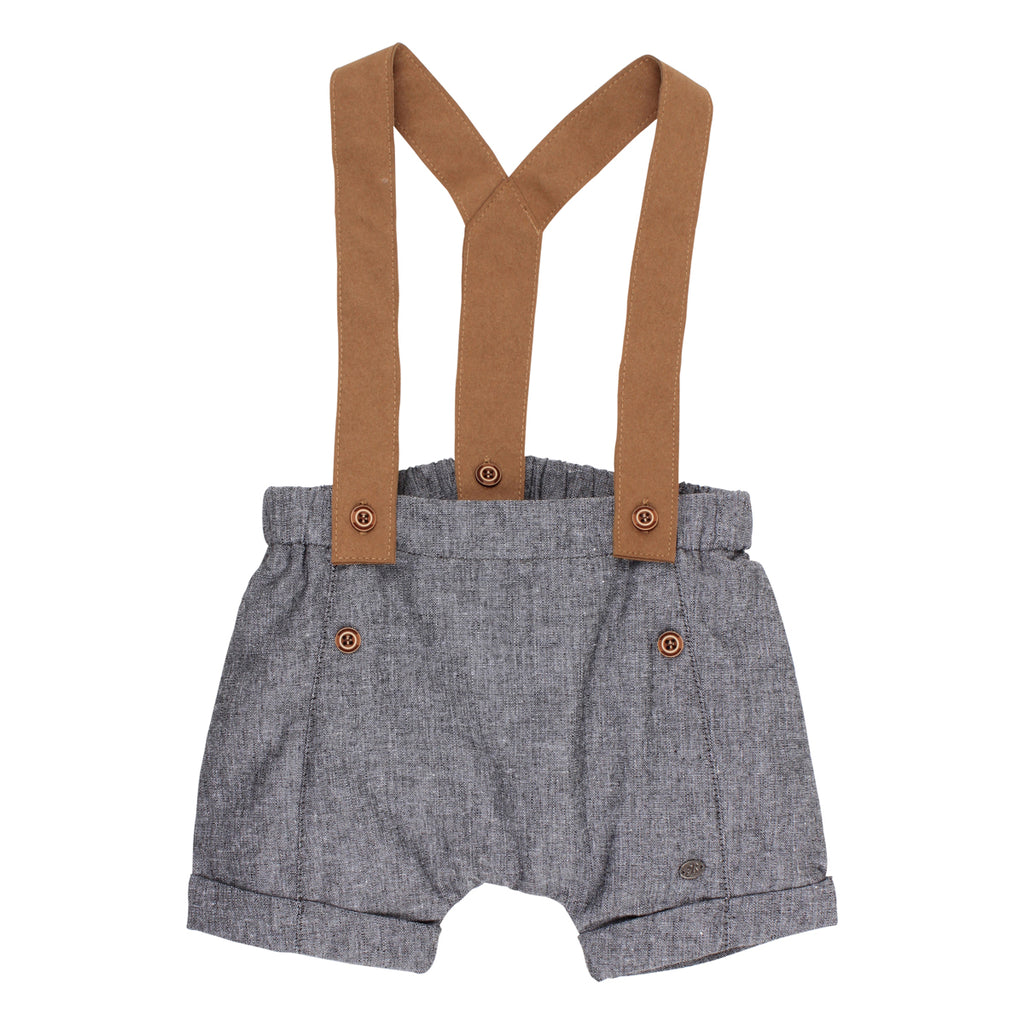 Bebe Henry Woven Shorts with Braces in Charcoal