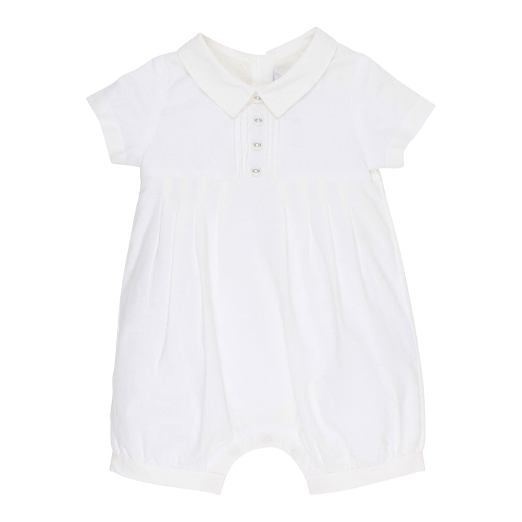 Bebe Boys Pleat Romper in Ivory (Size NB-0)