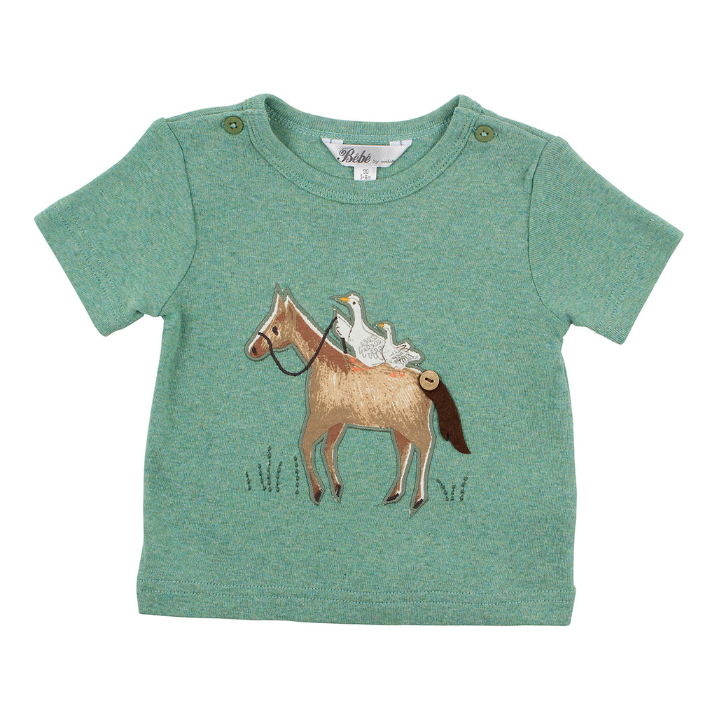 Bebe Beau Horse Tee in Green Marle (Size 000-2Y)