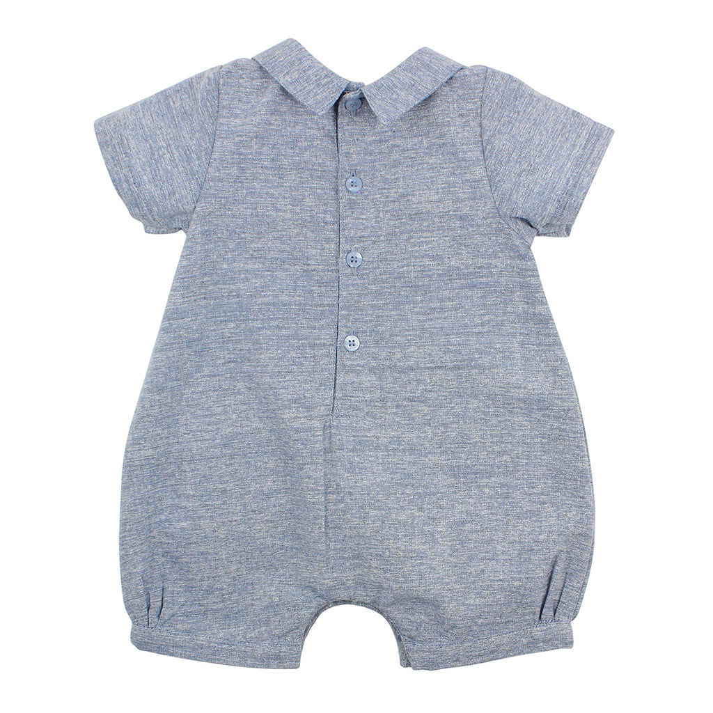 Bebe Harry Romper with Collar in Pale Blue (Size NB-0)