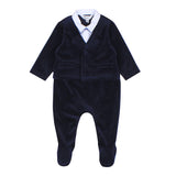 Bebe George Suit Romper in Navy (Size 3M-1Y)