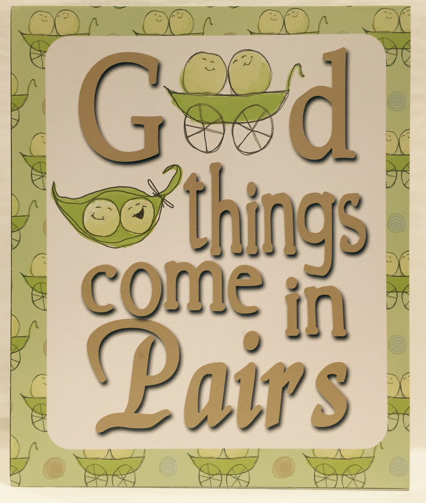 Carte Blanche Peas in a Pod Wooden Plock - Good Things come in Pairs - Sweet Thing Baby & Childrens Wear