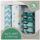 All4Ella 2 Pack Muslin Wraps & 4 Pram Pegs Pack - Hearts & Chevron Turquoise