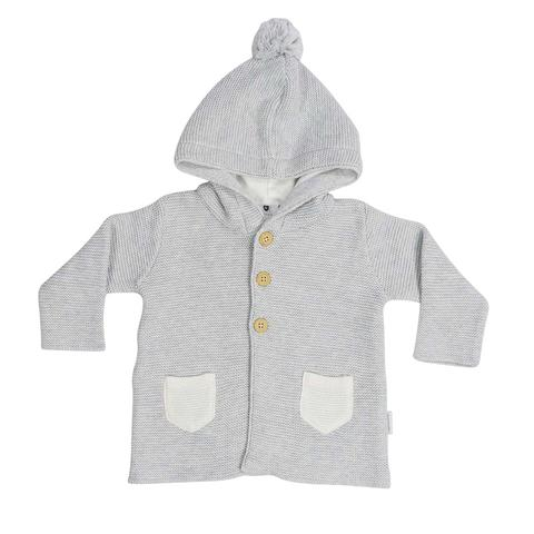 Korango Baa Baa White Sheep Hooded Knit Jacket with Contrast Pocket - Grey