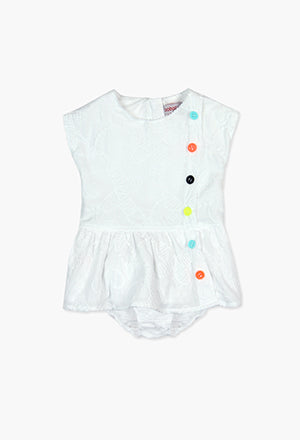 Boboli White Embroidery Dress with Colourful Buttons