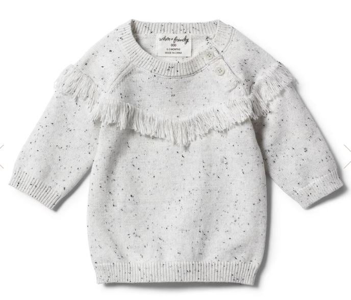 Wilson & Frenchy Knitted Jumper with Fringe-Grey Speckle