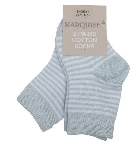 Marquise 2 Pack Blue Stripy Cotton Socks - Sweet Thing Baby & Childrens Wear
