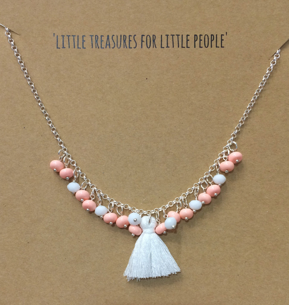 La Miniature Tassel, Coral & White Bead Necklace - Sweet Thing Baby & Childrens Wear