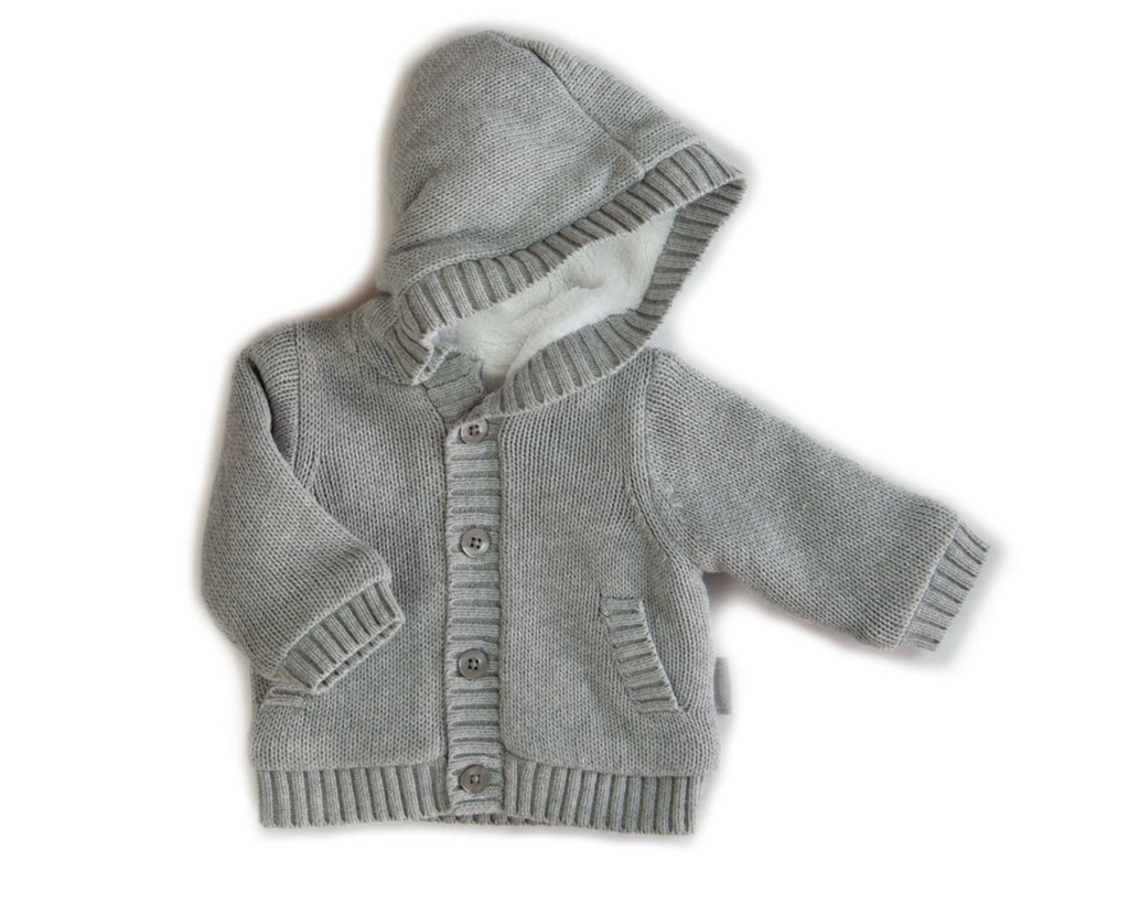 Beanstork Hooded Lined Cardigan Grey (Size 3M-24M)