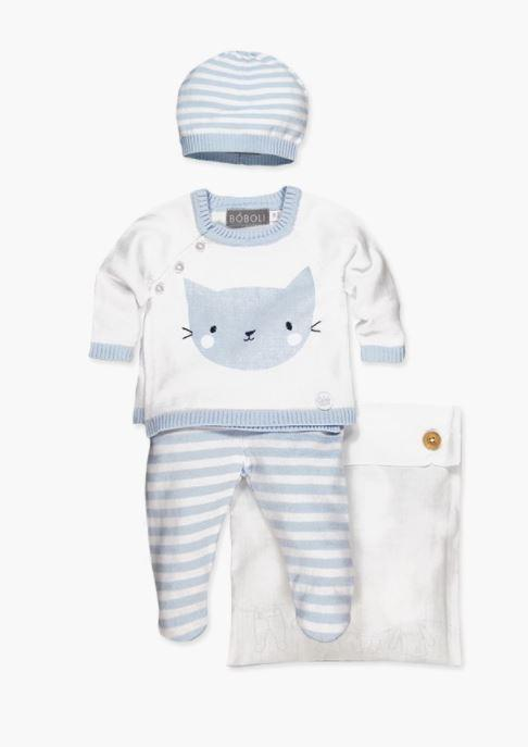 Boboli Kitten Knitwear Set-Blue/White