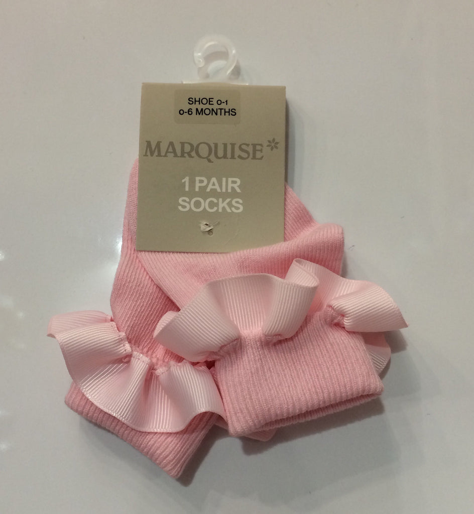 Marquise Knitted Socks Ribbon-Pink - Sweet Thing Baby & Childrens Wear