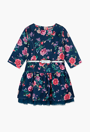 Boboli Floral Dress- Navy/Multi