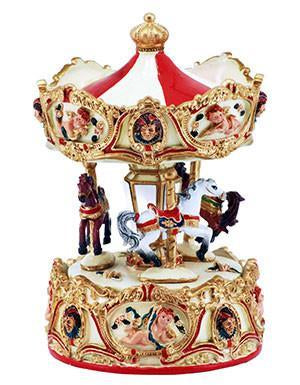 "Stylesetter Carousel Mus. Cupid & Horses, Red 9"" - Sweet Thing Baby & Childrens Wear"