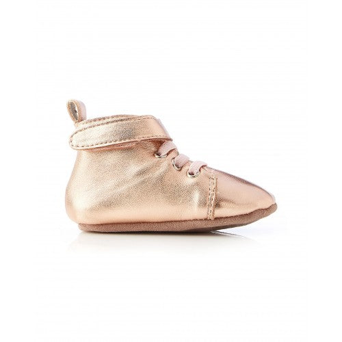 Walnut Hunter Leather Bootee in Rose Gold