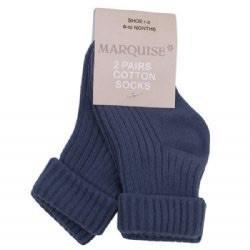 Marquise 2 Pack Steel Blue Knitted Socks - Sweet Thing Baby & Childrens Wear