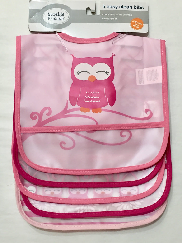 Lovable Friends Waterproof Bib Set of 5 in Pink