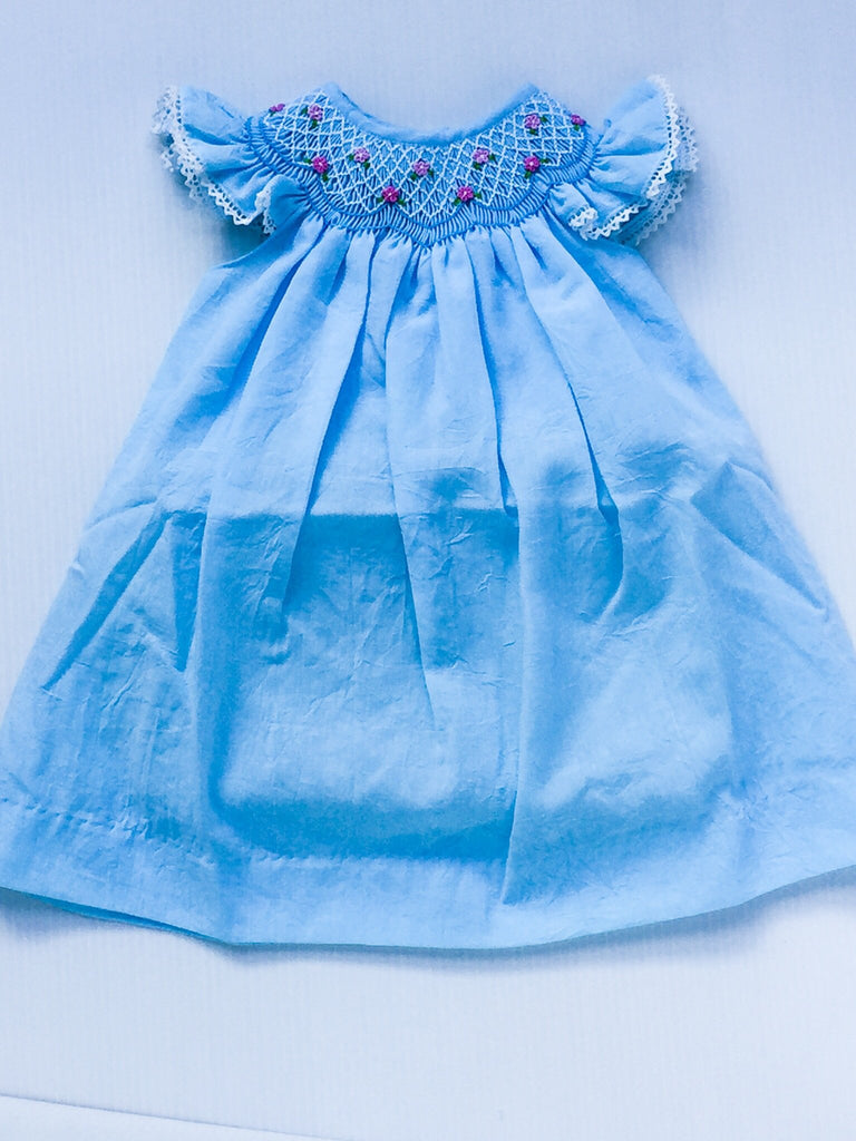Vintagespired Emma Smocking Dress in Aqua Blue