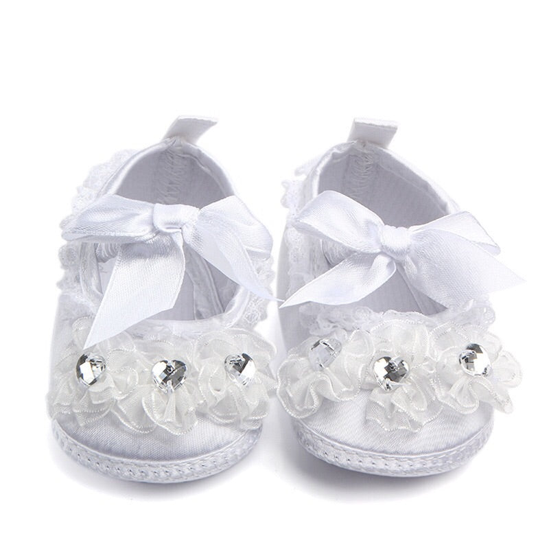 Christening Booties with Flowers