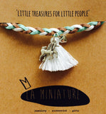 La Miniature- Unicorn on Beige, white & aqua plaited bracelet