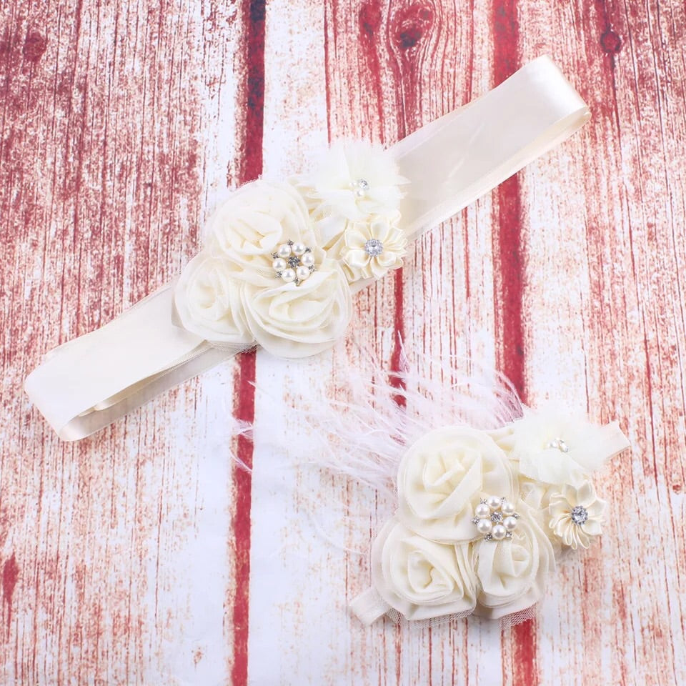 Flower Belt & Headband Set in Cream