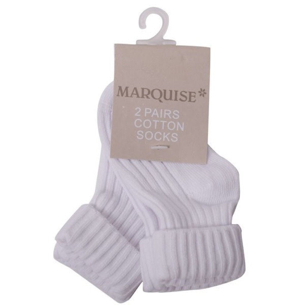 Marquise 2 Pack White Knitted Socks - Sweet Thing Baby & Childrens Wear