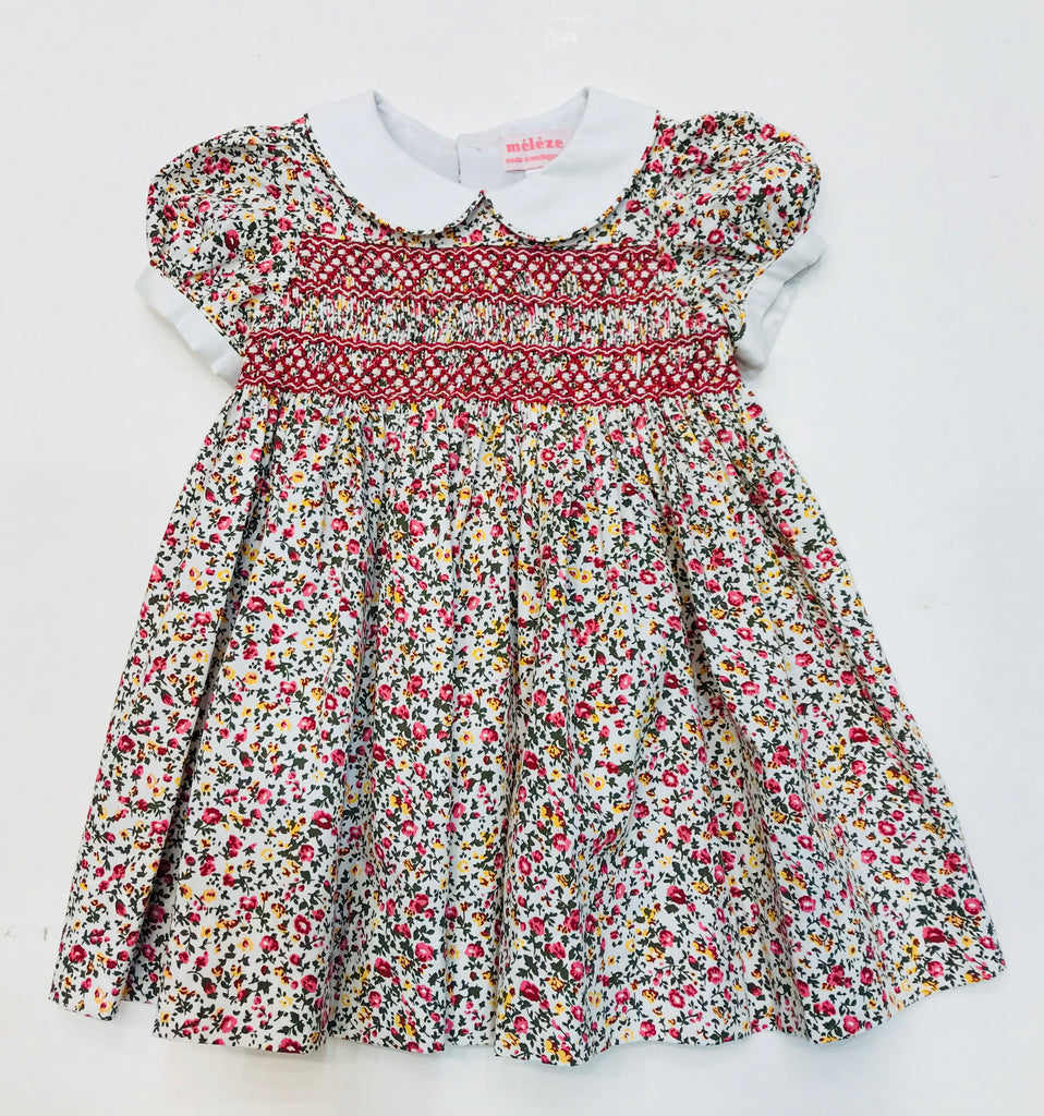 Meleze Hand Smocked Dress- Red Floral