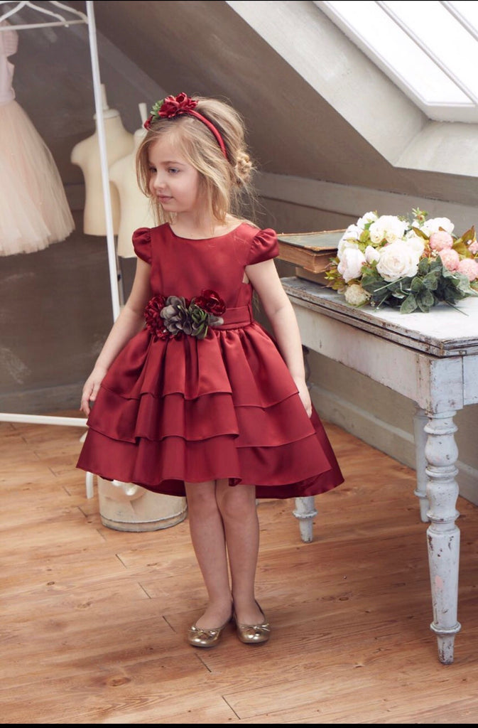 Beggi Ceremony Burgundy Dress with Flower Belt