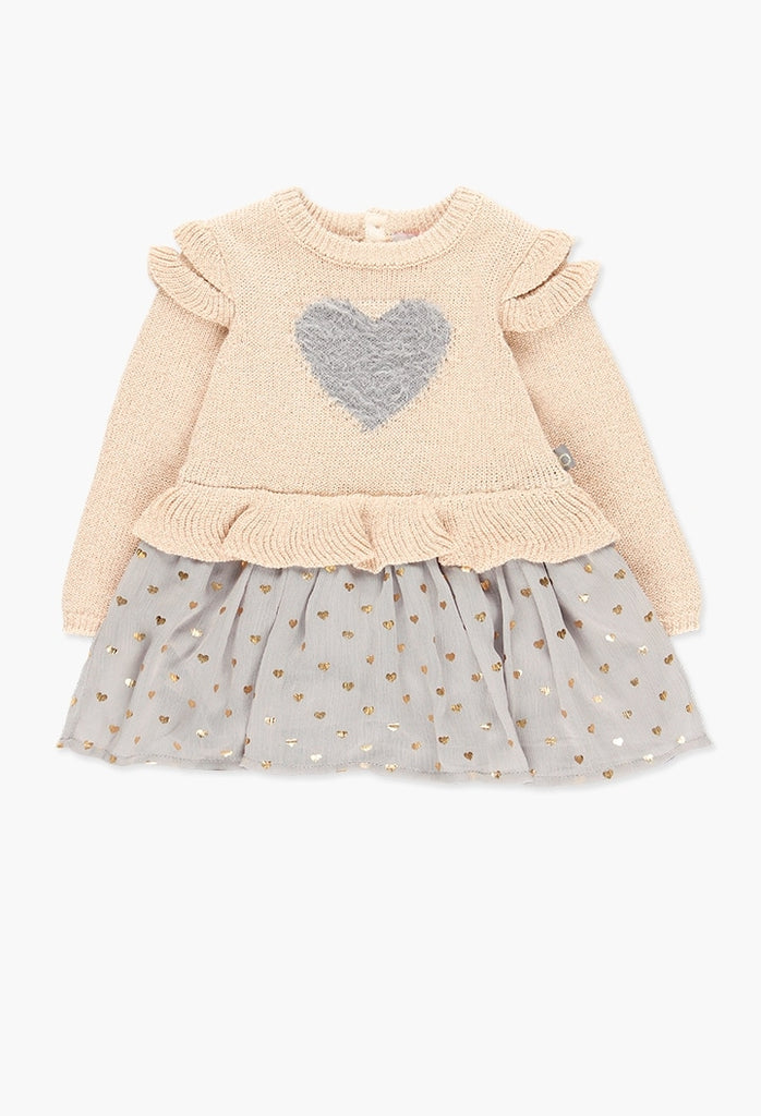 Boboli Knitwear Combined Dress for Baby Girl (Size 2-6)