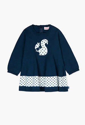 Boboli Squirrel Dress- Navy/White