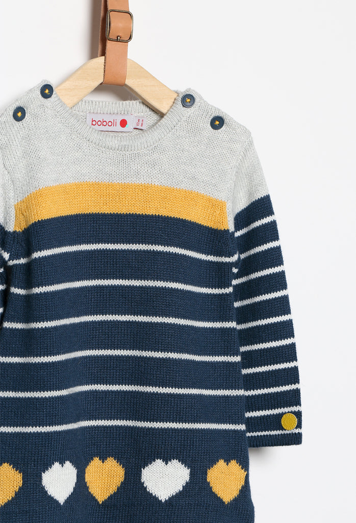 Boboli Heart Knitwear Dress- Navy/Yellow/White