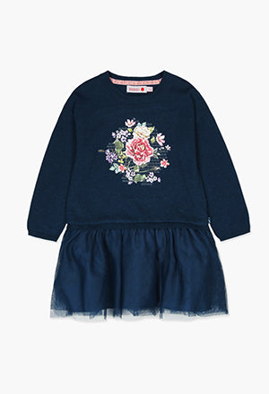 Boboli Knit Floral Dress- Navy
