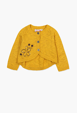 Boboli Yellow Flower Cardigan