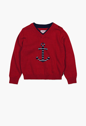 Boboli Anchor Knit Jumper- Red