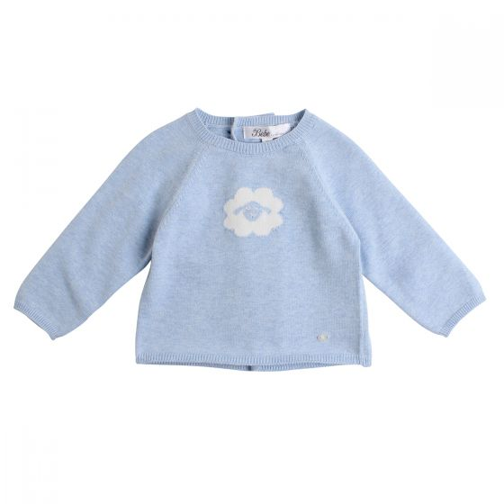 Bebe Blue Knit Sheep Face Sweater