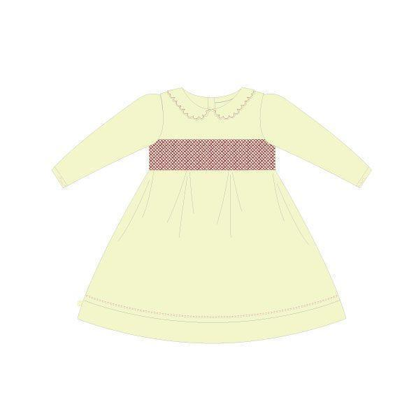 Korango Natural Class Collared Smocked Voile Dress  - Ivory (Size NB-2Y)
